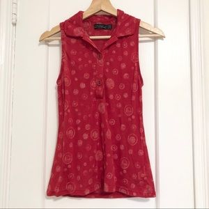Zara red light with collared blouse white dots M